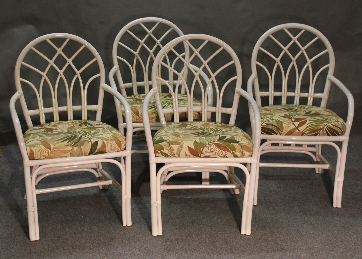 Set of 4 Rattan Arm Dining Chairs