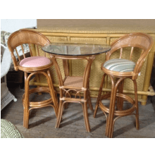 Aruba Rattan 3 Piece Pub Table Set