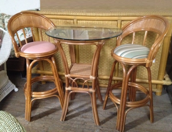 Aruba Rattan 3 Piece Pub Table Set All About Wicker