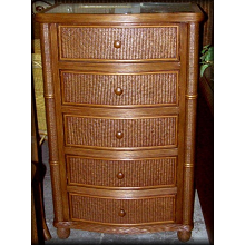 Bombay Rattan Wicker 5 Drawer Chest