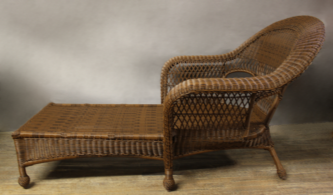 Kingston outdoor wicker chaise lounge all about wicker for Antique wicker chaise