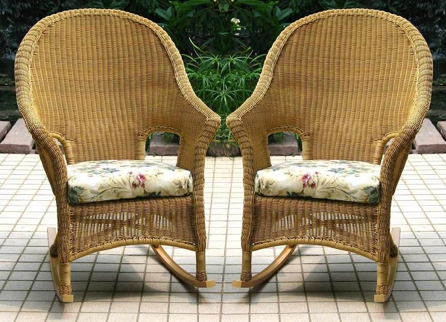 Summerset Outdoor All Weather Wicker High Back Rockers - Set of 2