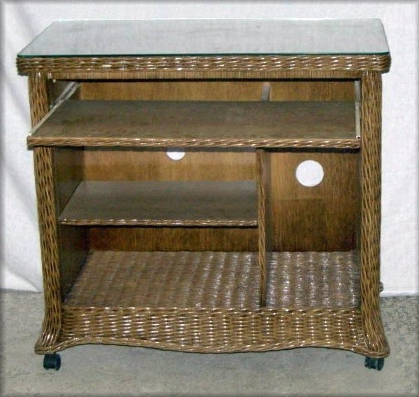 Florentine Wicker Computer Cart Desk