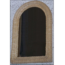 Arched Half Moon Wicker Framed Mirror