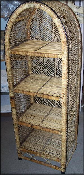 Natural Wicker Rattan Arched Shelf Etagere All About Wicker