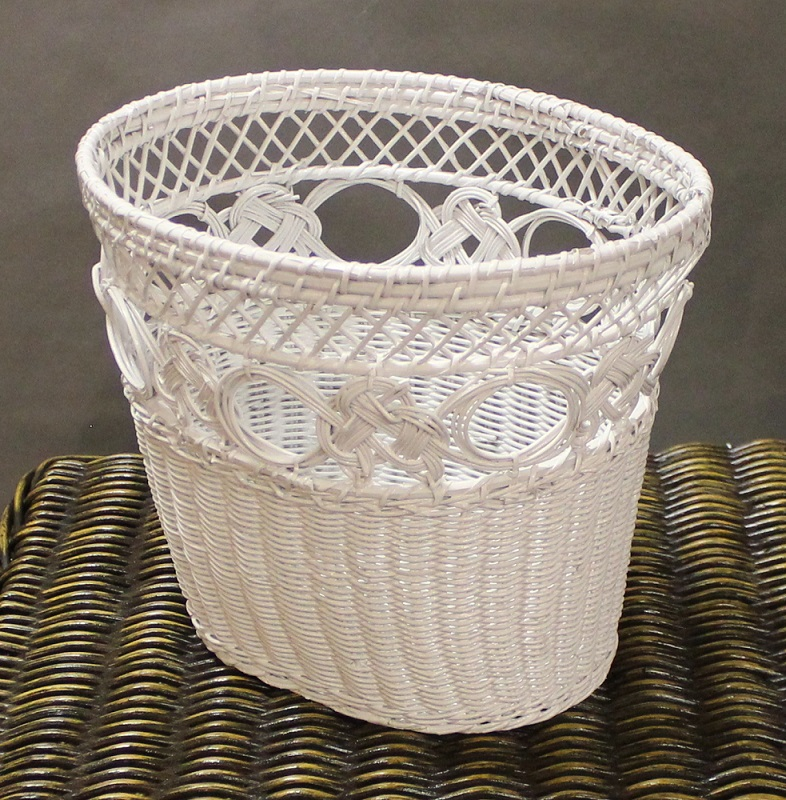 Natural wicker waste basket oval all about wicker for Bedroom waste baskets decorative