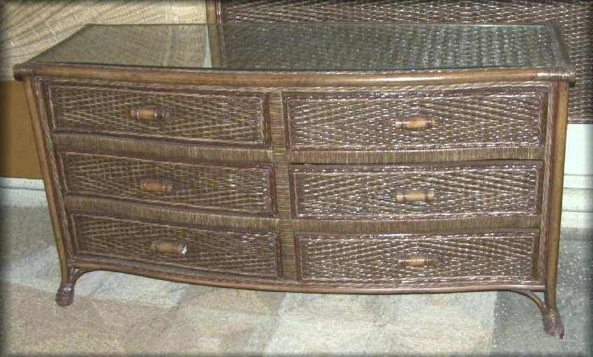 Livingston 6 Drawer Rattan Wicker Dresser All About Wicker