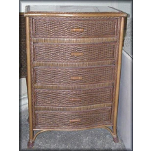 Livingston 5 Drawer Rattan Wicker Chest