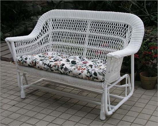 Mackinac Outdoor Wicker Double Glider Loveseat Settee All About Wicker