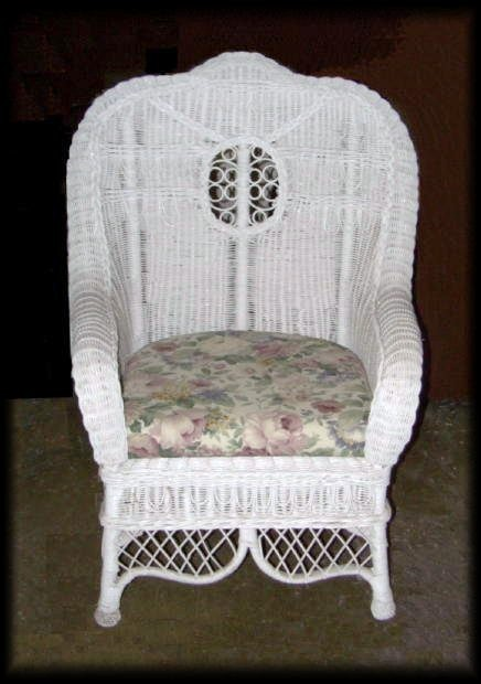 Ralph Lauren High Back Wicker Chair