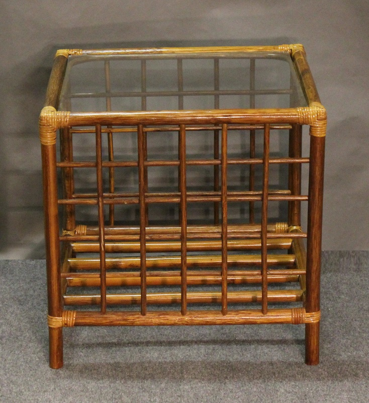 Pole Rattan End Table with Glass Top