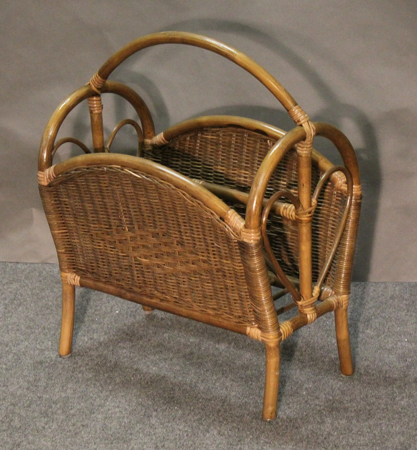 Rattan and Diamond Wicker Magazine Rack