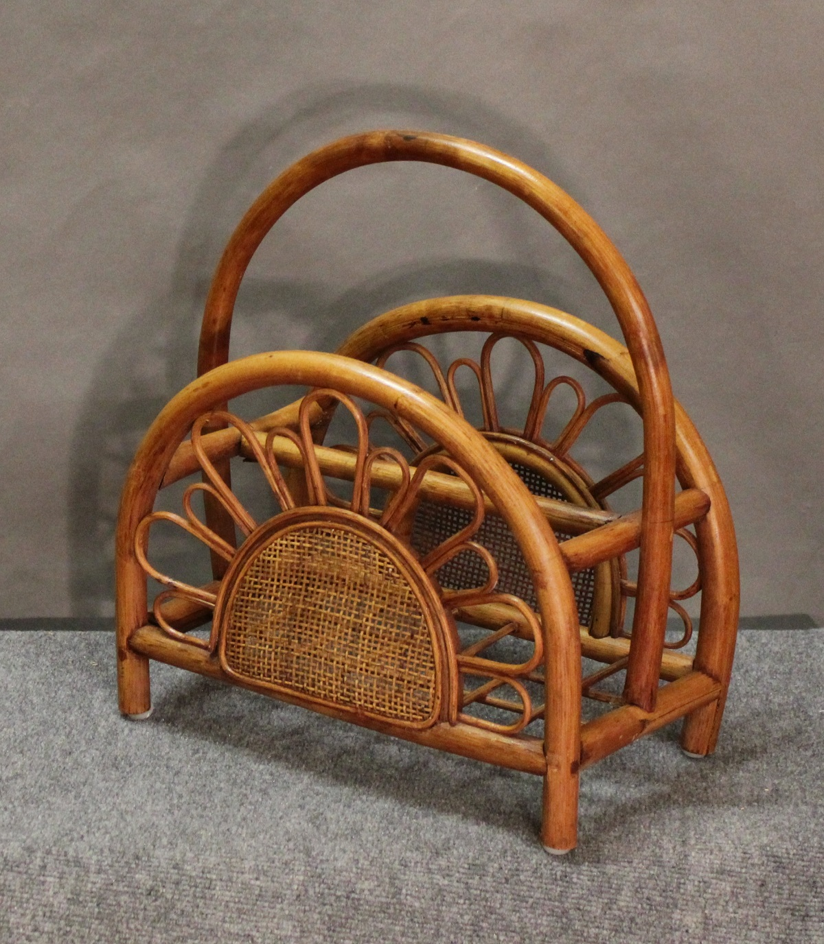 Sunburst Rattan and Wicker Magazine Rack