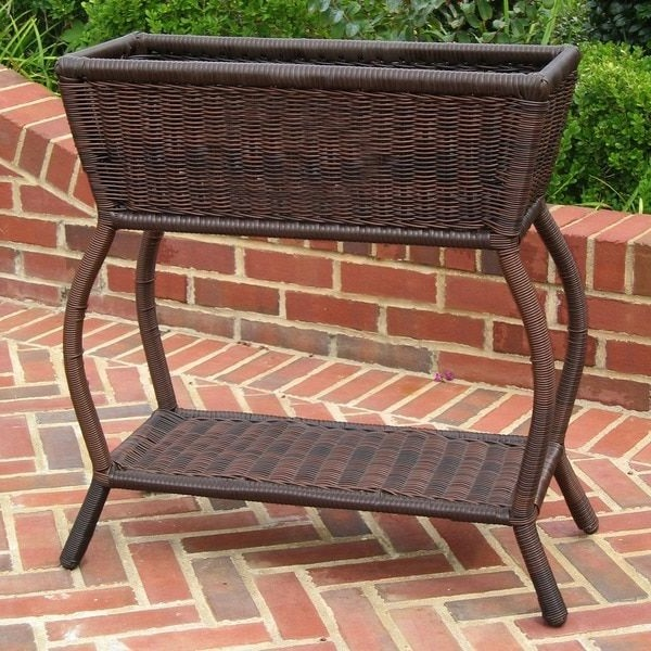 Vineyard All Weather Rectangular Wicker Plant Stand