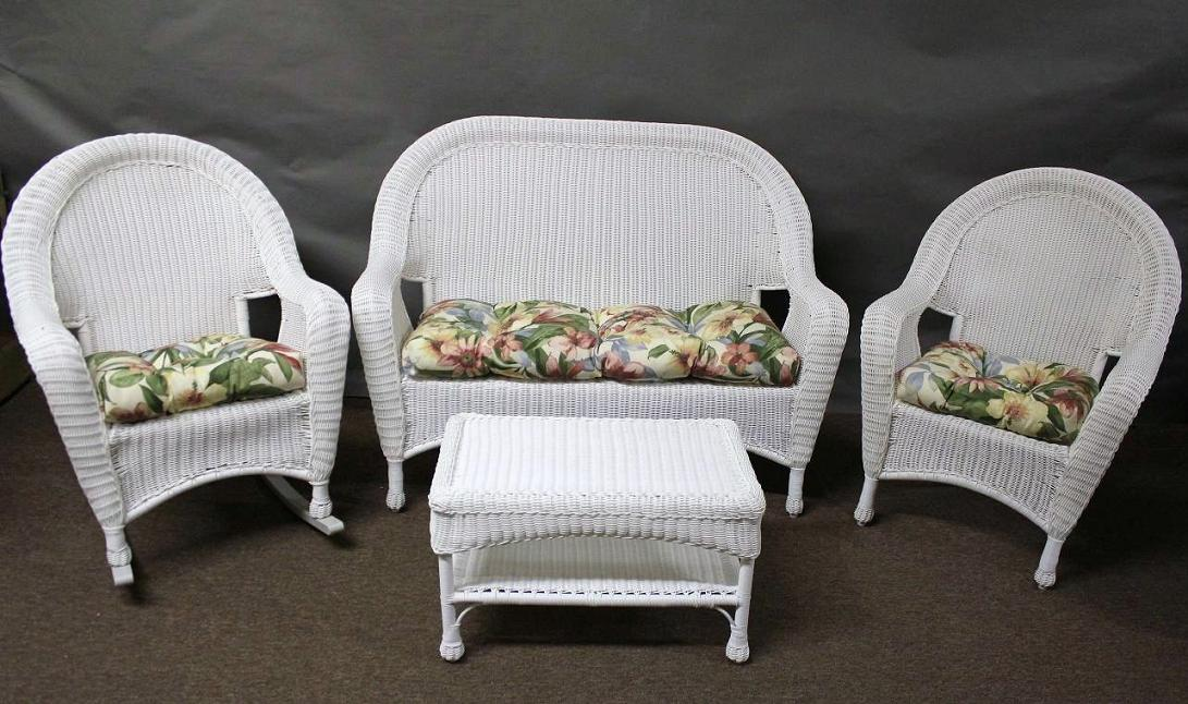 Riviera Outdoor Wicker 4 Piece Seating Set with Rocker