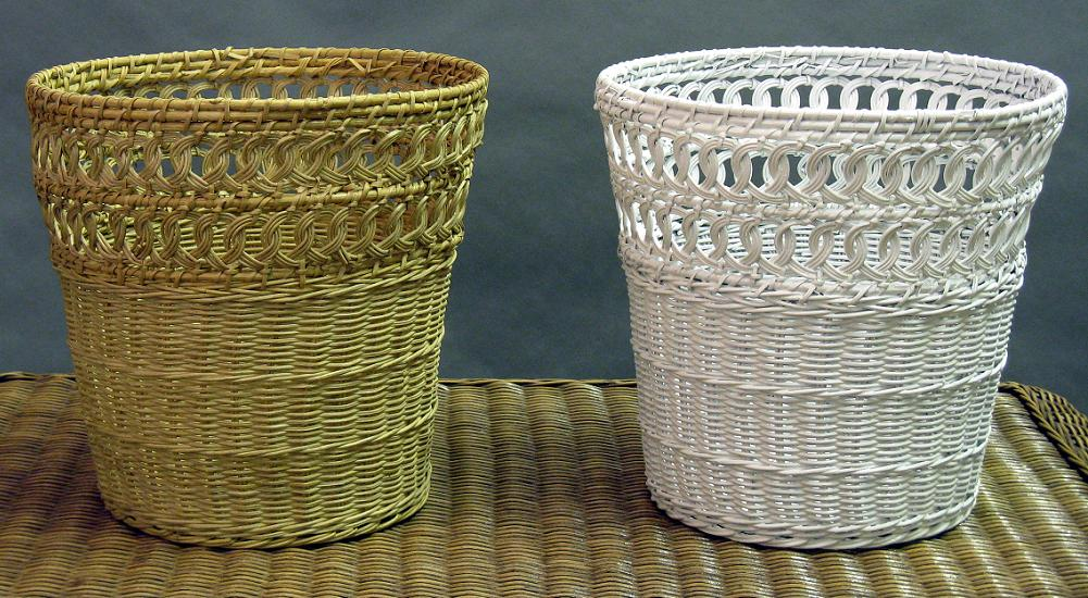 Natural Wicker Waste Basket - Round<br><small>White or Honey</small>