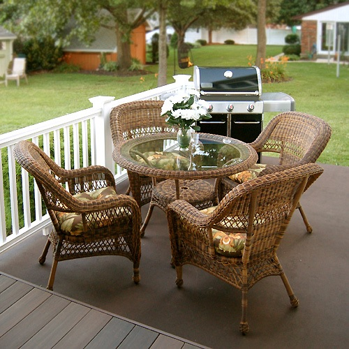 sanibel 5 piece outdoor wicker dining set 1
