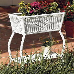 Vineyard All Weather Rectangular Wicker Plant Stand All