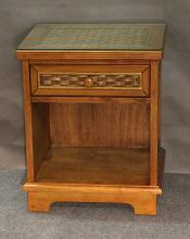 1 Drawer Wood and Wicker Nightstand