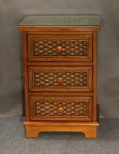 3 Drawer Wood and Wicker Nightstand