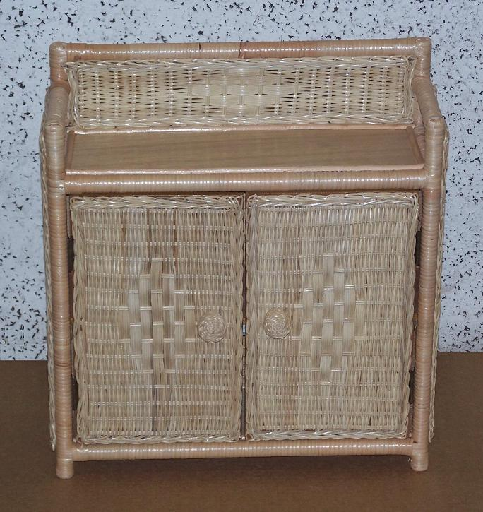 2 Door Wicker Cabinet with Top Shelf