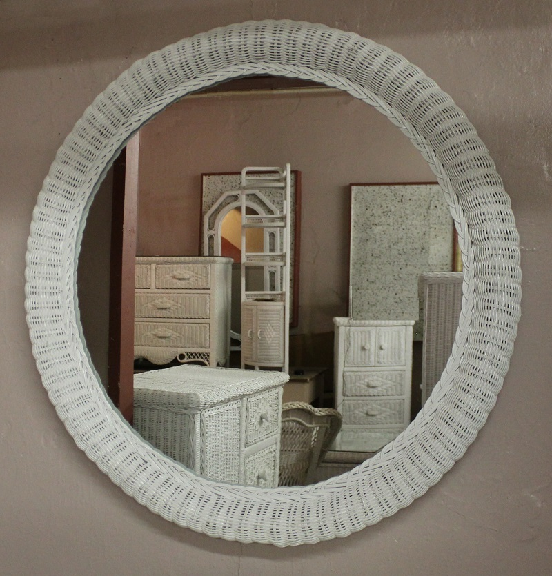 36 Inch Round Wicker Framed Mirror All About Wicker