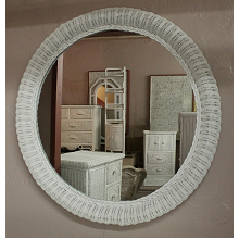 36 Inch Round Wicker Framed Mirror