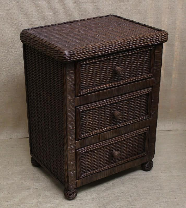 Hampton Bay Wicker Nightstand 3 Drawer