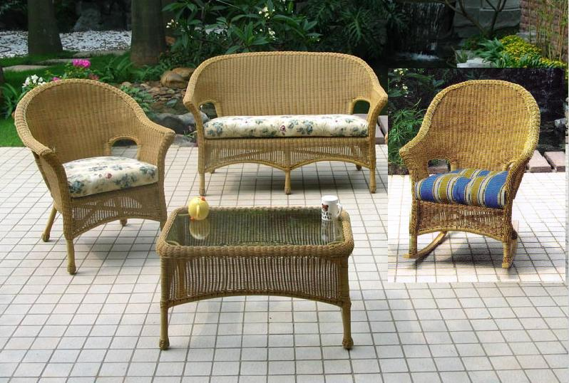 Summerset 4 Piece Wicker Seating Set with Rocker