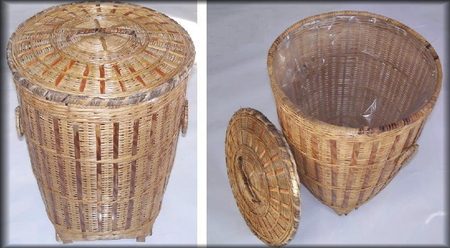 Wicker Wastebasket With Lid Small : Bamboo wicker hamper waste basket all about