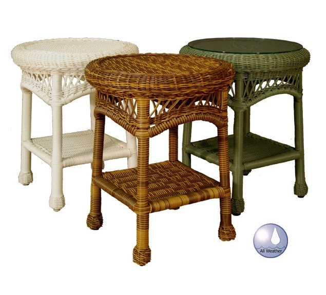 Sanibel Round Outdoor Wicker End Table