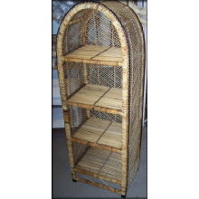 Natural Wicker Rattan Arched Shelf Etagere