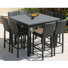 Cabo Outdoor Wicker 9 Piece Pub Set