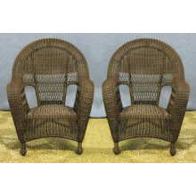 Charleston Outdoor High Back Wicker Dining Chairs - 2
