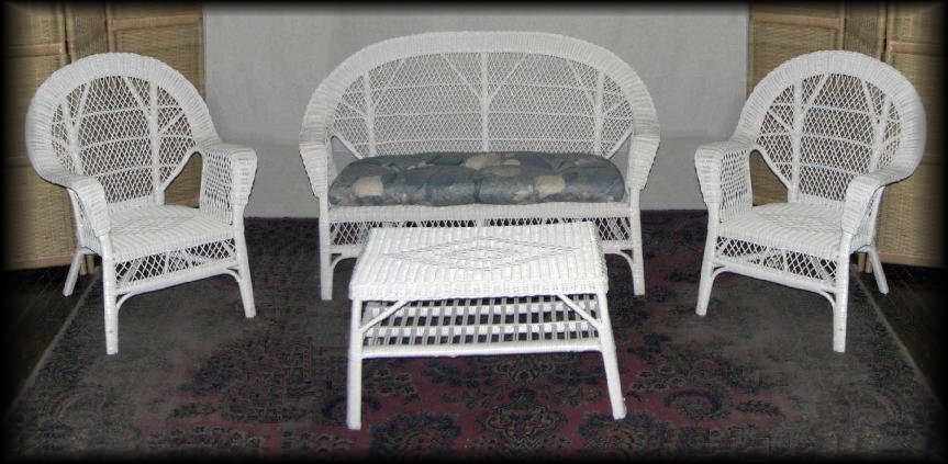 Diamond 4 Piece Natural Wicker Set