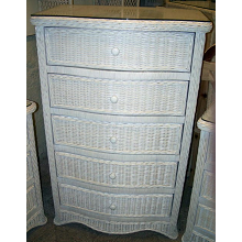 Florentine 5 Drawer Wicker Chest of Drawers Dresser