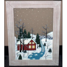 Wood Framed Painted Glass Winter Scene Picture