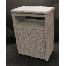 Hampton Bay 3 Drawer Wicker Dresser with Swivel TV Top