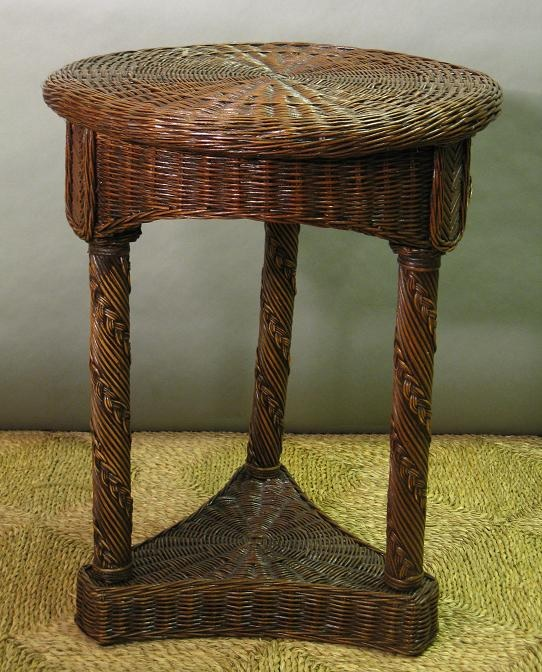 Hampton Bay Round Wicker End Table / Nightstand 1