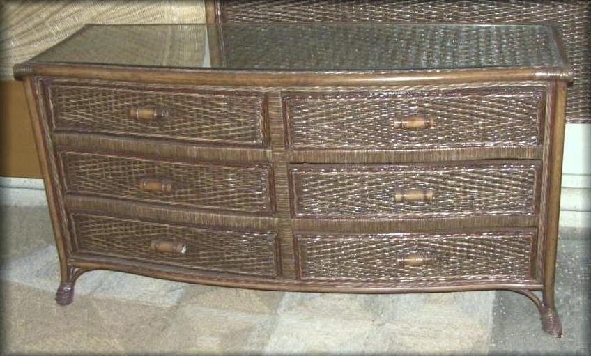 Livingston 6 Drawer Rattan Wicker Dresser All About Wicker