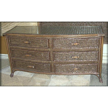 Livingston 6 Drawer Rattan Wicker Dresser