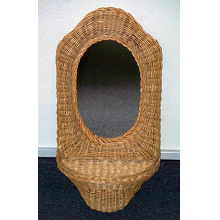Wicker Framed Oval Mirror with Shelf