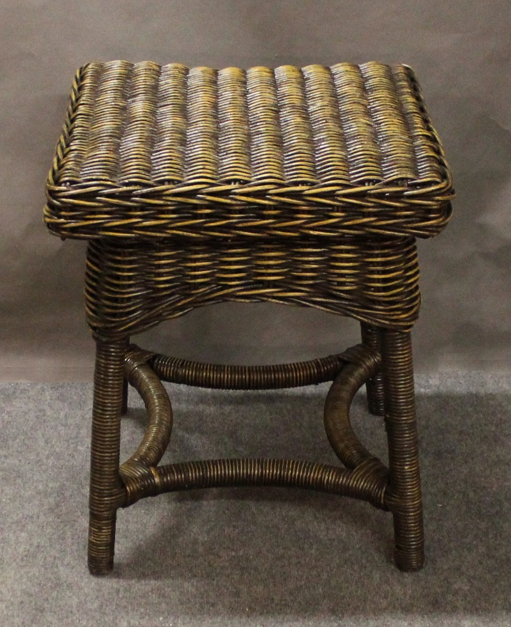 Square Dark Brown Wicker End Table