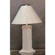 Tall White Wicker Table Lamp with Shade