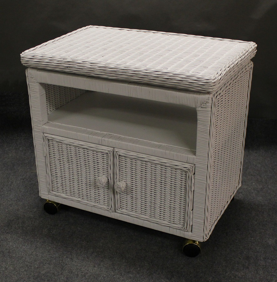 Swivel Top Wicker TV Stand / Microwave Cart