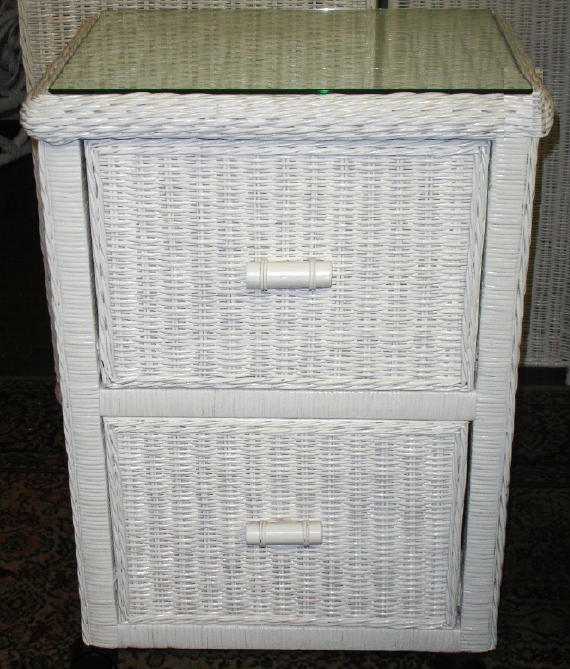 2 Drawer Wicker File Cabinet