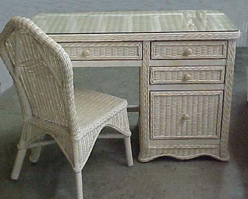 Florentine Wicker Desk And Chair Set All About Wicker