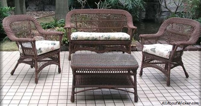 Mackinac Four Piece Outdoor Wicker Seating Furniture Set All About