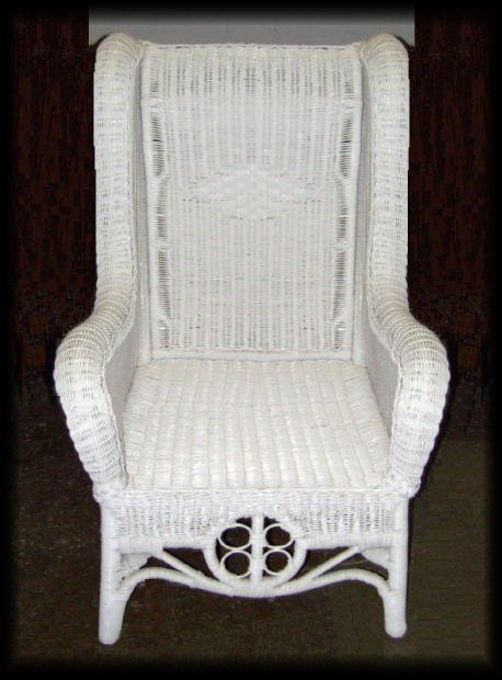 Ralph Lauren High Back Wicker Wing Chair