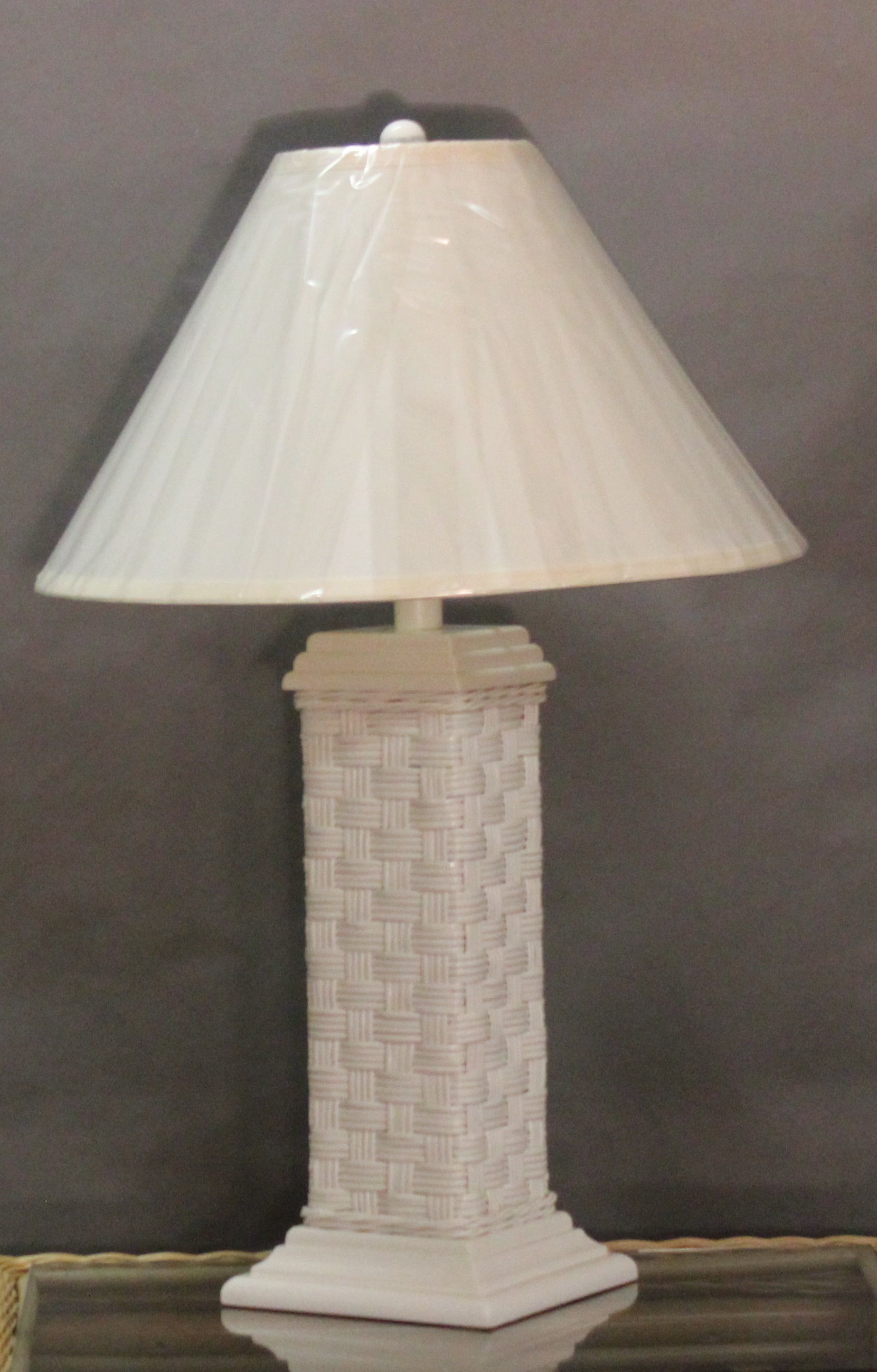 & Tall White Wicker Table Lamp with Shade | All About Wicker